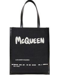Alexander McQueen - Borsa Tote Con Logo Graffiti Nera - Lyst