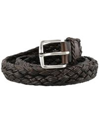 Orciani Dark Brown Woven Leather Belt