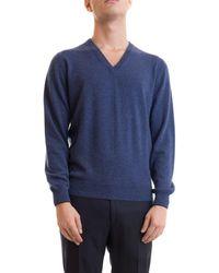 Corneliani Blue V Neck Cashmere Sweater