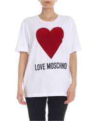 Love Moschino - T-shirt Flock Heart In White - Lyst