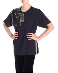 N°21 Black T-shirt With Brooches