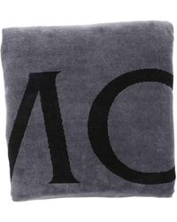 Moncler Telo Mare Grigio Con Logo Lettering
