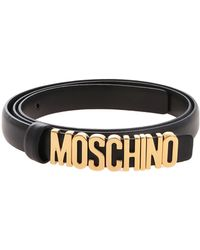 Moschino Black Belt With Golden Logo
