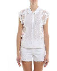 Ermanno Scervino Mesh Floral Lace Sleeveless Shirt - White