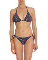 Paul Smith - Bikini Top In Midnight Blue With Floral Print - Lyst