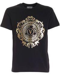 Versace Jeans Couture T-Shirt Nera Con Logo V-Emblem Baroque - Nero