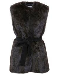 P.A.R.O.S.H. Fox Fur Waistcoat - Grey