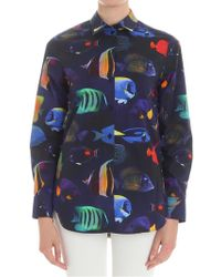 Paul Smith - Blue And Black Shirt With Fish Print - Lyst