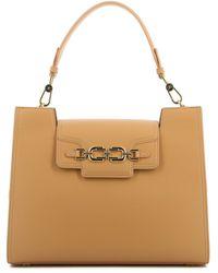 Elisabetta Franchi Vegan Leather Shoulder Bag - Natural
