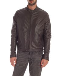 Tagliatore Brown Leather Lined Jacket