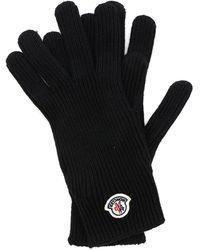 Moncler Black Gloves With Logo