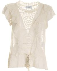 Dondup Embroidered Tulle Top - Natural