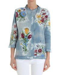Avant Toi - Light-blue Floral Printed Jacket - Lyst