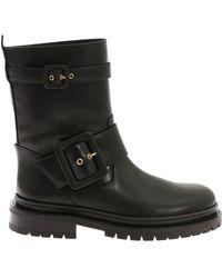 L'Autre Chose - Black Ankle Boots With Straps - Lyst