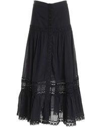 Charo Ruiz Ann Lace Long Skirt - Black