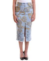 Versace Jeans Couture Patterned Denim Pencil Skirt - Blue