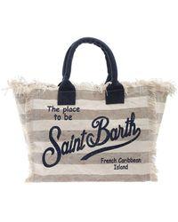 Mc2 Saint Barth Striped Print Bag - Natural