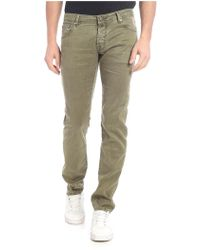Jacob Cohen Linen And Stretch Cotton Pants - Green