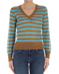 Happy Sheep - Golden And Blue Striped Jumper - Lyst