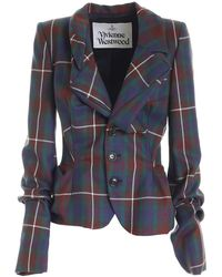 Vivienne Westwood Giacca Motivo Check Multicolore - Blu