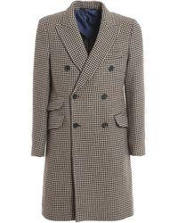 Drumohr Houndstooth Ulster Coat - Brown