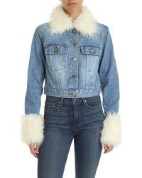 Michael Kors Light Blue Jacket With Eco-fur Details