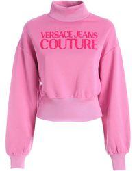 Versace Jeans Couture Logo High Neck Sweatshirt - Pink