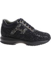 "Hogan - ""interactive"" Black Glittery Sneakers - Lyst"