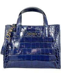 Twin Set Croco Printed Leather Twinset Bag - Blue