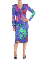 Clips - Multicolor Printed Purple Dress With Drapery - Lyst