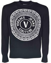 Versace Jeans Couture Branded Crewneck Pullover - Black