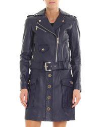 Michael Kors - Blue Leather Coat With Logo Details - Lyst