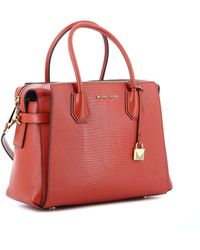 Michael Kors Mercer Medium Leather Handbag - Red