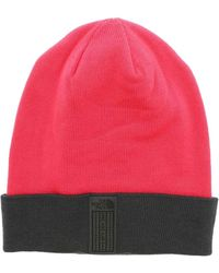 The North Face Fuchsia Beanie With Contrasting Turned Up - Multicolour