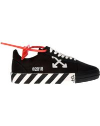 Off-White c/o Virgil Abloh - Vulcanised Striped Low Top Black Sneakers - Lyst