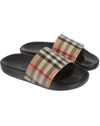 Burberry Mini Furley Slide Sandals - Natural