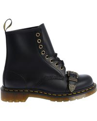 """Dr. Martens - Black """"1460 Buckle"""" Military Boots - Lyst"""