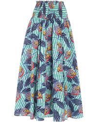 Stella Jean Smock Stitching Band Multicolour Skirt - Blue