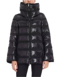 Add - Black Down Jacket With Fabric Inserts - Lyst