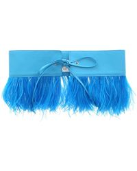 The Attico Ostrich Feather Belt - Blue