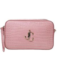 Jimmy Choo Varenne Croco Print Leather Cross Body Bag - Pink
