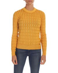 Fay Braided Knitting Pullover - Yellow