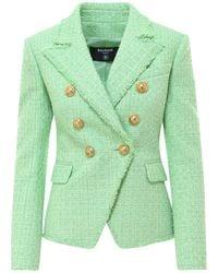 Balmain Tweed Double-breasted Blazer - Green