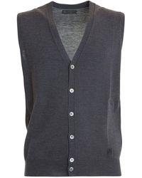 Corneliani Grey Wool Sleeveless Cardigan