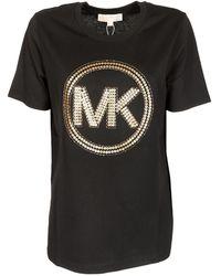 Michael Kors T-Shirt Nera Con Logo Pailettes - Nero