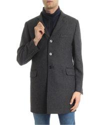 Fay Cappotto marrone e blu in lana e cachemire