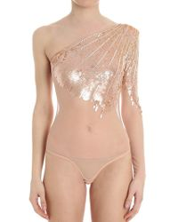 Elisabetta Franchi - Powder Pink Body With Sequins And Rhinestones - Lyst