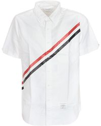 Thom Browne Rwb Diagonal Short Sleeves Shirt - White