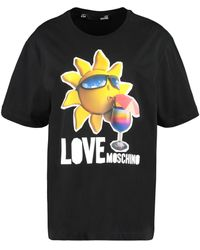 Love Moschino T-shirt in cotone stampata - Nero