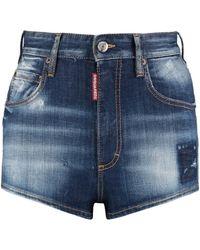 DSquared² Shorts in denim con effetto distressed - Blu